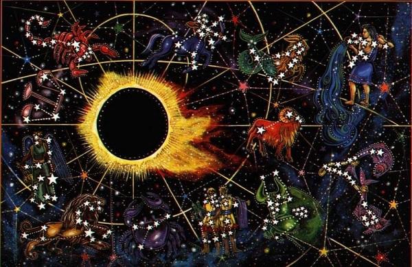 солнечное затмение на фоне знаков зодиака