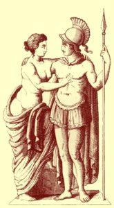 античный рисунок Марс и Венера