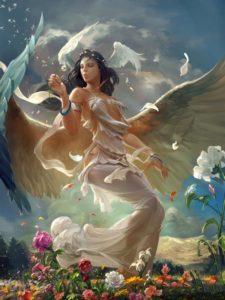 картина ангел с птицами