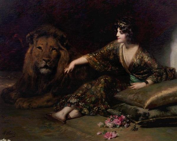 Картина A.Weisz Принцесса и лев