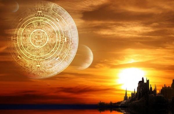 ведические символы на фоне красивого заката