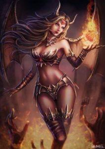 женщина - демон держит в руке пылающее сердце