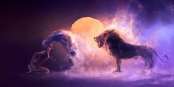 фантазийная картинка лев и девушка рычат друг на друга