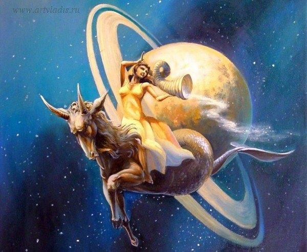 фэнтазийная картинка символизирующая знак козерога на фоне планеты нептун