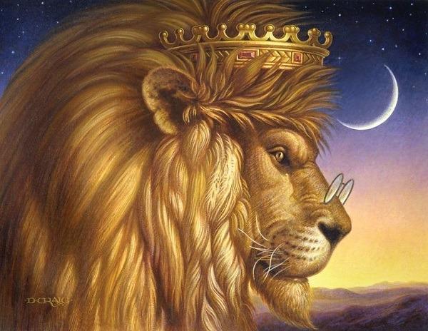 лев в короне и очках