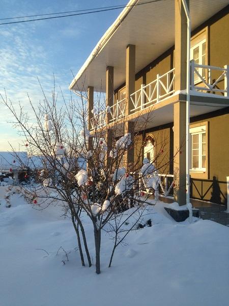 красивый дом зимой