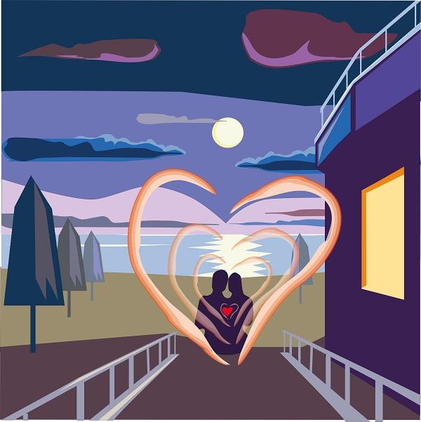 романтический вечер на море под луной